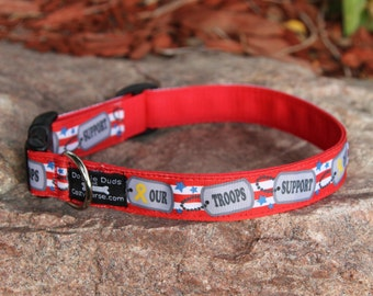 Adjustable Dog Collar with SUPPORT OUR TROOPS