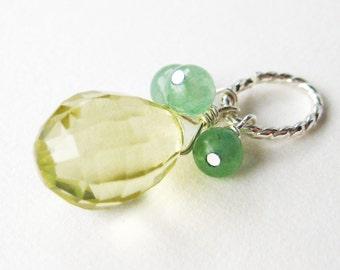 Lemon Quartz Pendant, Light Yellow Faceted Gemstone Teardrop, Large Bail Silver Pendant, Pale Green Cluster, Handmade, Pineapple