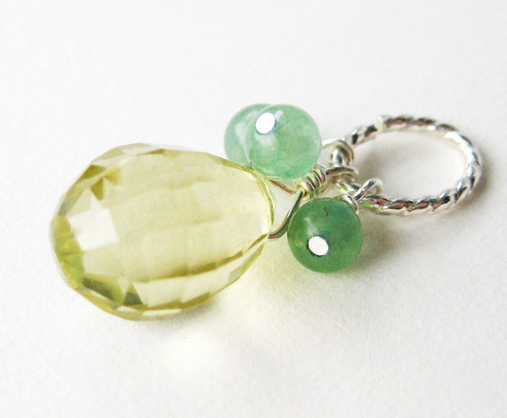 lemon quartz pendant light yellow faceted gemstone teardrop