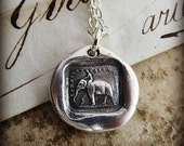 """Wax Seal Charm """"Reason Is My Strength"""" - Elephant wax seal necklace - Strength, Wit and Ambition - FS655"""