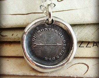 Arrow Wax Seal Necklace - What Goes Up, Must Come Down - Antique French wax seal jewelry in fine silver - Arrow Necklace FP350