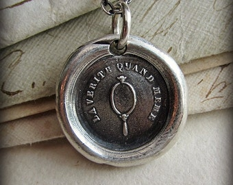 Mirror Wax Seal Necklace - The Truth Anyway - Antique Wax Seal Jewelry - self assured and unpretentious, confident in any situation - FP390