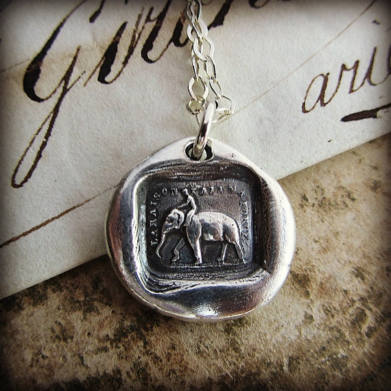 "Wax Seal Charm ""Reason Is My Strength"" - Elephant- in fine silver"