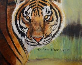 Tiger art rustic home decor, tiger wall art, giclee print, animal painting, animal art print, rustic wall art, cat art print, mat option