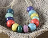 Handmade stoneware SMALL ceramic beads Assorted Satin Colors (13)