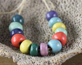 Handmade stoneware SMALL ceramic beads Assorted Satin Colors (13)