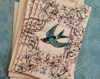 Vintage Bird Notecards - French BlueBird  Notecards - Flat Notecards - Set of 3