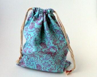 Little Mermaid  Drawstring Bag, pink and purple mermaid drawstring bag children crayons storage bag, party favors fabric bag,  bolsa de tela