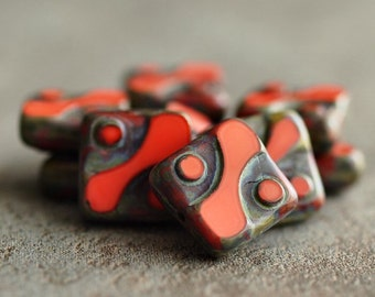 Czech Glass Bead Coral Picasso 10mm Square : 10 pc