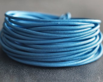 1.5mm Round Leather Cord Sky Blue : 15 Feet Genuine Leather Cord