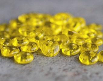 Czechmates Transparent Lemon Yellow Lentil Czech Glass 6mm Two Hole Bead : 50 pc