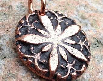Copper Lacy Snowflake Pendant or Charm, Rustic Jewelry, Flower, Star