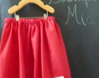 SAMPLE - Children Skirt - Red with tiny white Polka Dots - Will fit Size 6 yr up to 10 Yr - by Boutique Mia and More - Ready To Ship