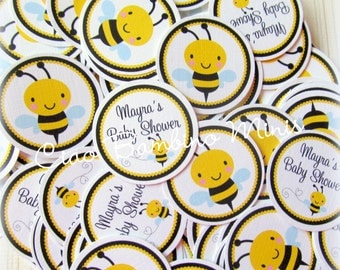 Bumble Bee Baby Shower Minis / Mini Tags to make Cupcake Toppers, Use as Table Confetti and More / Set of 75