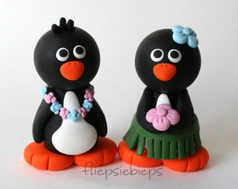 Custom Hawaii Penguin Wedding Cake Topper