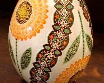 MadeToOrder Peach Sunflowers Pysanka Pysanky Batik Ukrainian Style Easter Egg Art EBSQ Plus