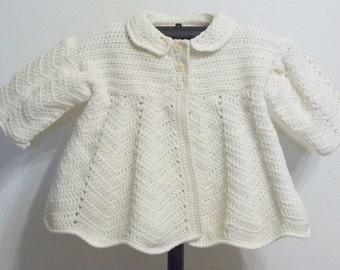 Toddler Girl's Aran/Off White Victorian Crocheted Coat - 2 Toddler