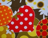 Abstract strawberry design Vintage mod fabric 70s polka dots pique cotton