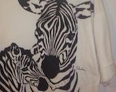 SALE,Vint. Zebra Shirt,1980s, Mom and Baby Zebra Shirt, White Top, SHort Sleeved Shirt,Zebra,Shirt with Waistband,Woman Clothing,Size Medium