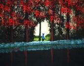 Australian Cattle Dog Blue Heeler Folk Art print of Todd Young painting AUTUMN FOREST LIGHT