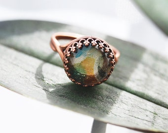 Unique Hand-Silk Painted Copper Glass Dome Ring - FREE US SHIPPING