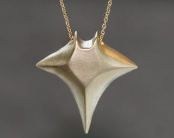 Large Manta Ray Necklace in Brass with Gold Fill Chain