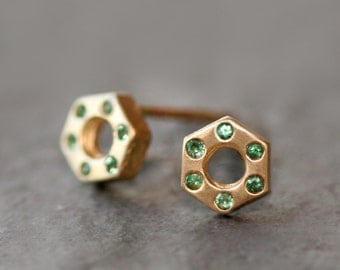 Small Hexagon Bolt Stud Earrings 14k  Gold with Emeralds