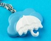 Rainy Days Cloud & Umbrella Necklace - Blue White - Kawaii en Cute