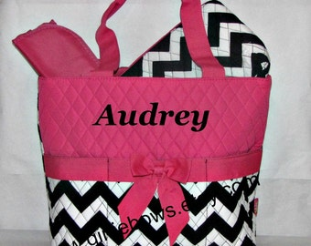 Personalized Quilted Diaper Bag Set -  Hot Pink and Navy Blue Chevron Personalized - MONOGRAMMED FREE - By Girliebows