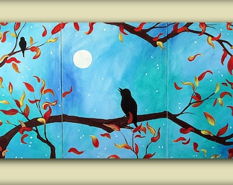 Blue Autumn Fall Painting..Bird in a Tree gazing at the Moon....HUGE Original Modern Art Multi Panel Triptych Painting by HD Greer