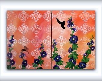 Tangerine Bird and Dragonfly Painting....Large Modern Art Multi Panel Painting by HD Greer