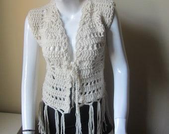 Crochet Fringe Vest, FALL FASHION, Festival vest, gypsy, boho, Tassel vest, OFFWHITE,  Earthy, retro inspired vest, Wool vest