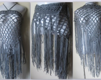 Crochet scarf, elongated fringe, sarong, fringe skirt, shawl, wrap scarf, bohemian, gypsy clothing, festival clothing, winter scarf