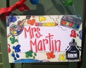 Hand personalized art sign  perfect for an art teacher or any teacher who likes color