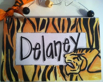 Hand personalized tiger lion  sign super cute for teacher or kids room