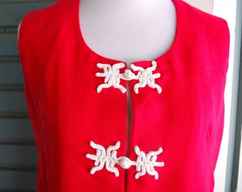 Cherry red vintage 1960's asian style vest or tank. size M/L