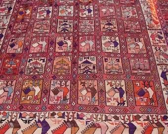 """Large Vintage Silk Turkish Kilim Area Rug 9'9"""" x 6'6"""""""