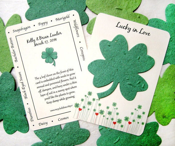 25 Lucky in Love Clover Wedding Favors - Seed Paper Clovers - Four Leaf Clover Plantable Paper  - Irish Wedding Favor - Green Seed Paper