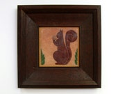 fine art pottery tile squirrel acorn arts and crafts ceramic unmarked 1920s 1930s crazed surface ceramic
