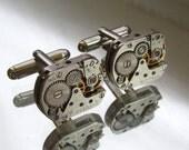 Steampunk Jewelry,Steampunk Men's rectangular  Watch Cufflinks  Fathers Day Wedding Anniversary  Vintage upcycled mens Cuff Links