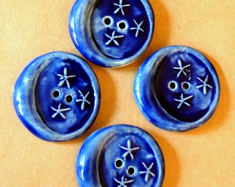 4 Handmade Ceramic Buttons - Moon Buttons -  Rich Blue Buttons in Stoneware