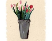 Tulip Note Cards Stationery Spring Flowers Pink Rustic