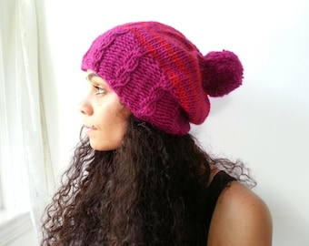Raspberry Pink and Red Beret Style Slouch Hat. Handknit in Alpaca and Wool. With PomPom