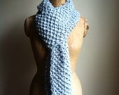 Oversized Chunky knit scarf Pale light blue. Warm and snuggly.