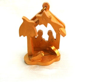Nativity, Olive wood Christmas nativity ornament, holy family hand carved in  BETHLEHEM, HOLY LAND