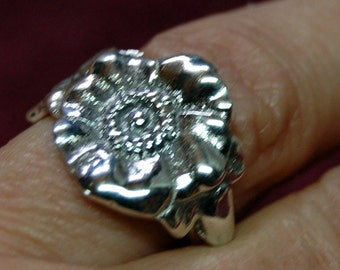 Sterling Spoon RIng - to a wild rose - size 6.5