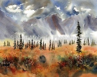 Fall Color Near Cantwell Alaska fine art print from original watercolor