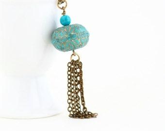Turquoise Tassel Necklace, Boho Chic Necklace, Beaded Necklace, Bohemian Pendant Necklace, Turquoise and Gold Necklace, Tassel Necklace