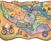 "Somerville Massachusetts Map Art Print 8"" x10"""