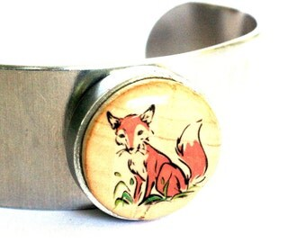 Fox Metal Cuff - Red Fox Jewelry - Fox Bracelet - Wine Cork Cuff - Cuff Bracelet - Recycled - Foxy Mama - Uncorked